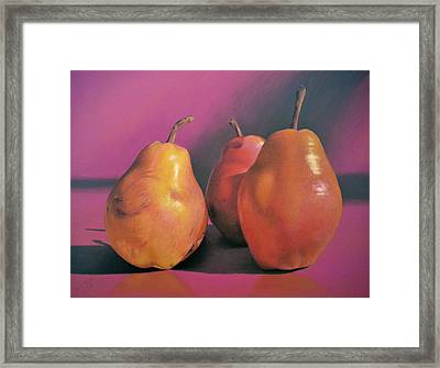 Really Red Pears Pastel Framed Print by Ben Kotyuk