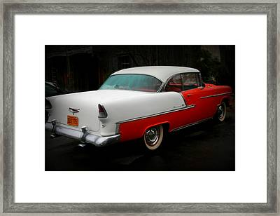 Rear Quarter Of A 1955 Masterpiece Framed Print by Kathy Peltomaa Lewis