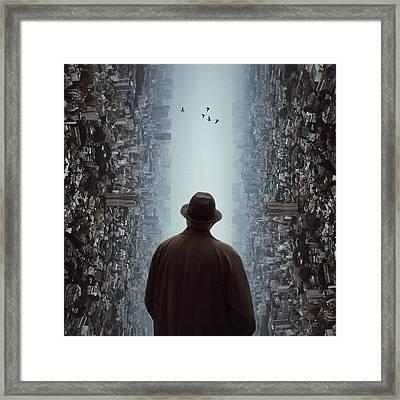 Rear View Of Man Looking At Flying Framed Print by Chen Liu / Eyeem