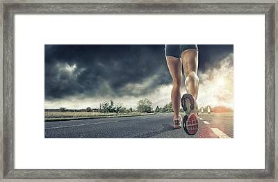 Rear View Of Runners Legs Framed Print by Peepo