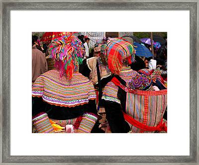 Rear View Of Two Flower Hmong Women Framed Print