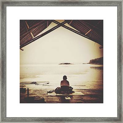 Rear View Of Woman Meditating In Patio Framed Print by Athina Vakali / Eyeem