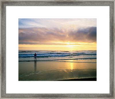 Rear View Of Woman On Beach Looking Framed Print by Panoramic Images