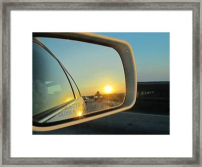 Rear View Sunset Framed Print