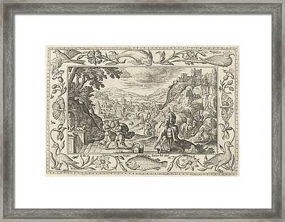 Rebecca And Eliezer At The Well, Adriaen Collaert Framed Print
