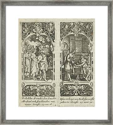 Rebecca And Eliezer At The Well, Esau Sells His Birthright Framed Print by Anonymous