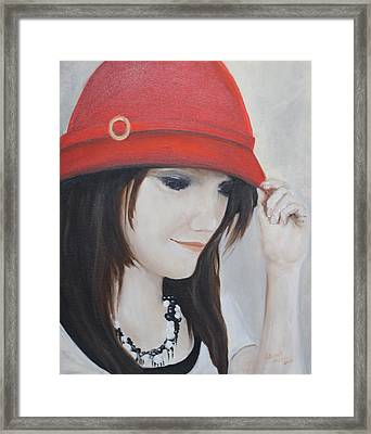 Rebecca's Red Hat Framed Print by Patricia Olson
