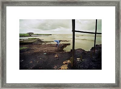 Receding Sea Shore Framed Print