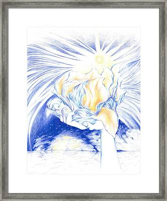 Receiving Grace From The Divine    Oneness Art Framed Print by Lydia Erickson