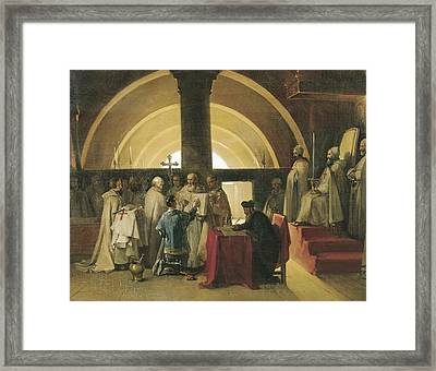 Reception Of Jacques De Molay . 1840s Framed Print by Everett