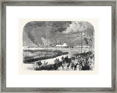 Reception Of The Belgian Riflemen At The Camp On Wimbledon Framed Print