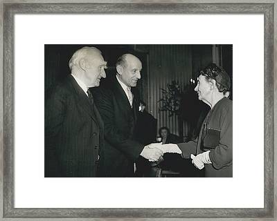 Reception To Mark Award Of Nobel Prize Framed Print by Retro Images Archive