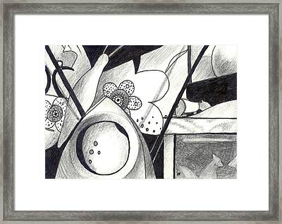 Receptors And Rabbit Ears And Long Pairs Of Antennas Framed Print by Helena Tiainen