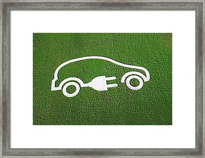 Rechargeable Electric Car Symbol Framed Print