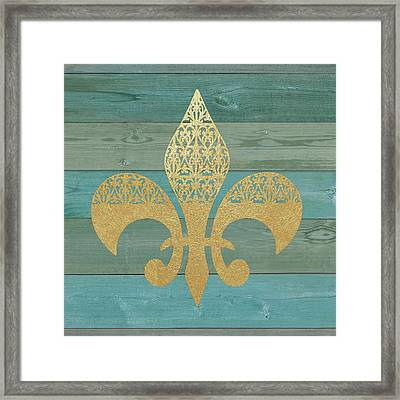 Reclaimed Wood Fleur De Lis Framed Print