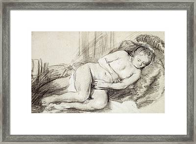 Reclining Female Nude Black Chalk And Bodycolour On Paper Framed Print by Rembrandt Harmensz. van Rijn