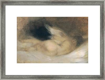 Reclining Nude Framed Print by Eugene Carriere