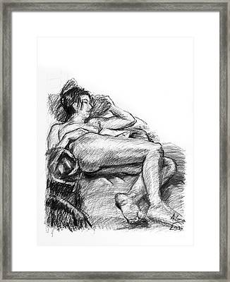 Reclining Nude Female Charcoal Drawing Framed Print by Adam Long