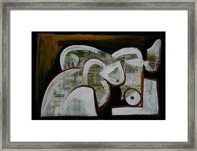 Framed Print featuring the painting Reclining Nude by Kim Gauge