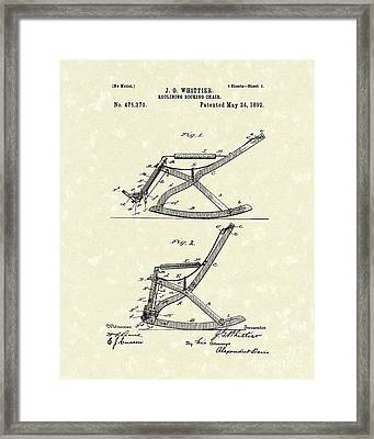 Reclining Rocker 1892 Patent Art Framed Print by Prior Art Design