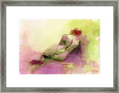 Reclining Woman Magenta Green And Orange Watercolor Painting Framed Print by Beverly Brown