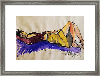 Reclining Woman - Pia #5 - Figure Series Framed Print by Mona Edulesco