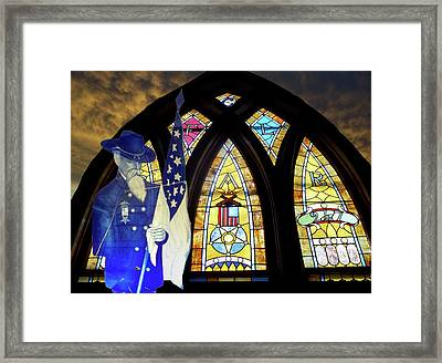 Recollection Union Soldier Stained Glass Window Digital Art Framed Print by Thomas Woolworth