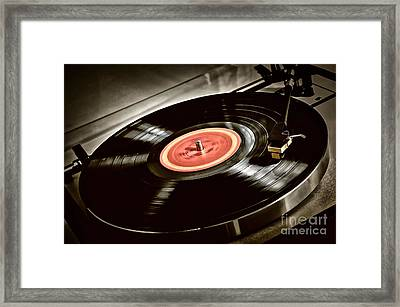 Record On Turntable Framed Print by Elena Elisseeva