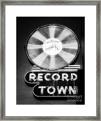 Record Town Vintage Sign Framed Print by Sonja Quintero