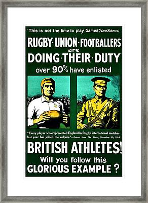 Recruiting Poster - Britain - Rugby Framed Print by Benjamin Yeager
