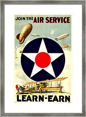 Recruiting Poster - Ww1 - Air Service Framed Print by Benjamin Yeager