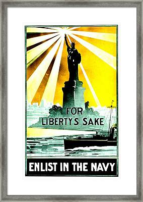Recruiting Poster - Ww1 - For Liberty's Sake Framed Print by Benjamin Yeager