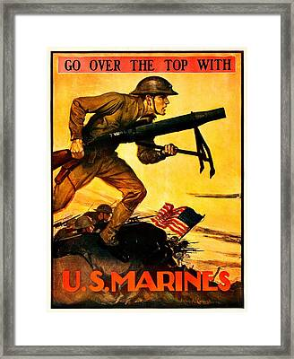 Recruiting Poster - Ww1 - Marines Over The Top Framed Print