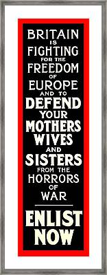 Recruiting Poster - Britain - Defend Women Framed Print by Benjamin Yeager