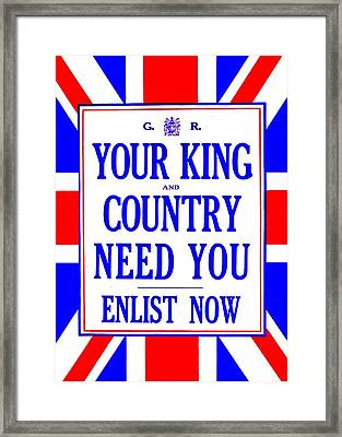 Recruiting Poster - Britain - King And Country Framed Print by Benjamin Yeager