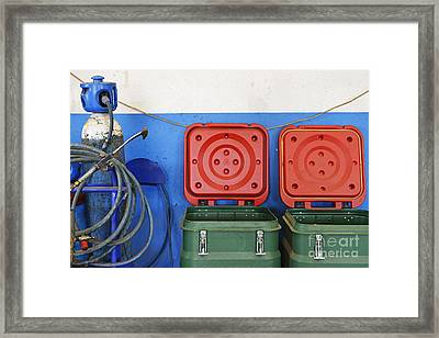 Recycling Bins And Gas Bottles Framed Print