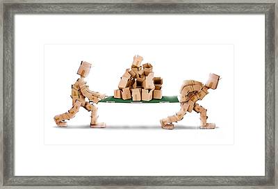 Recycling Boxes By Box Men And Stretcher Framed Print