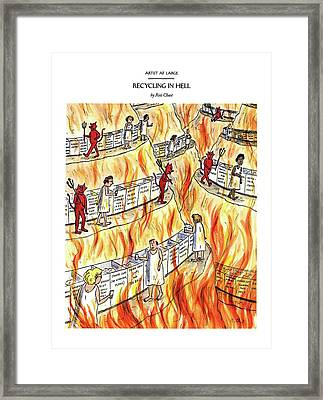 Recycling In Hell Unbent Paper Clips Framed Print