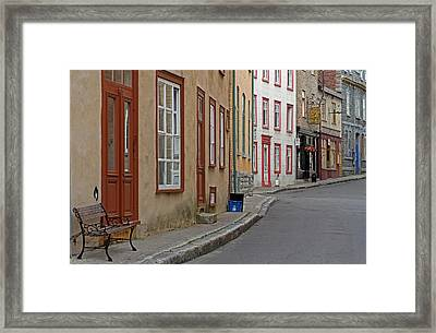 Recycling On Rue Couillard In Quebec City Framed Print by Juergen Roth