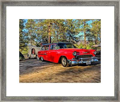 Red '55 Chevy Wagon Framed Print by Michael Pickett