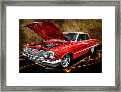 Red '63 Impala Framed Print by Victor Montgomery
