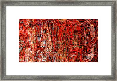 Red Abstract Panel Framed Print by Carol Groenen
