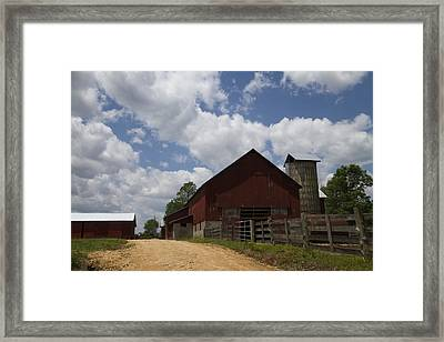 Red Amish Barn Framed Print by Kathy Clark