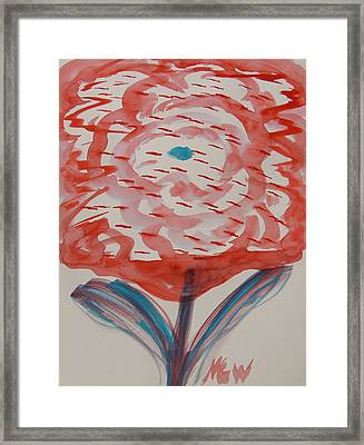 Red And Baby Blue Framed Print by Mary Carol Williams