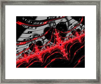 Red And Black Digital Fractal Artwork Framed Print