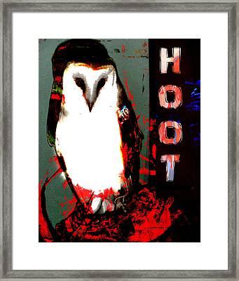 Red And Black Owl Art Framed Print