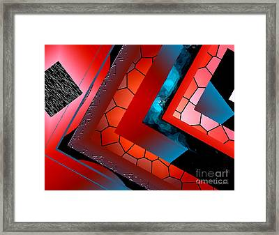 Red And Blue Abstract Art Framed Print by Mario Perez
