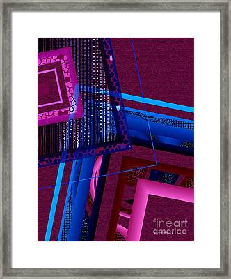 Red And Blue Geometric Art Framed Print by Mario Perez