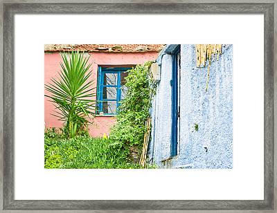 Red And Blue Houses Framed Print by Tom Gowanlock