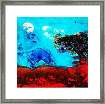 Red And Blue Landscape By Sharon Cummings Framed Print